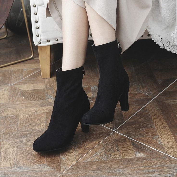 Miss Shoes 1309 Round Head and High Heel Height Heel Stretch Boot - BLACK 42---$36.62