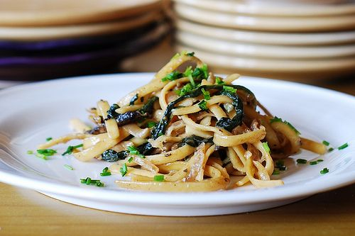 Creamy Mushroom Pasta with Caramelized Onions and Spinach from Julia's Album