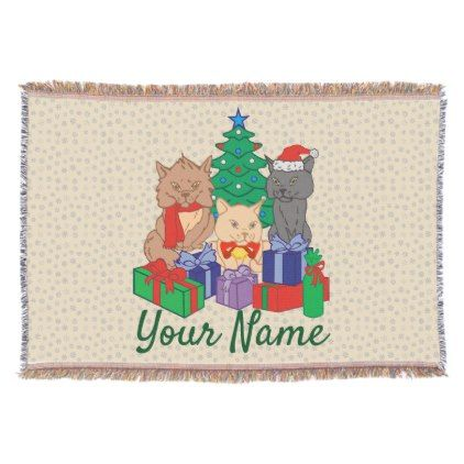Christmas Cats Tree Presents Personalized Throw Blanket - red gifts color style cyo diy personalize unique