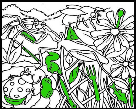 """Material encontrado en Actiludis. Hay que buscar 12 objetos ocultos entre la maleza y los insectos del campo. Más ejercicios del mismo tipo y las soluciones al final del artículo. """"En el campo"""" """"RE…"""