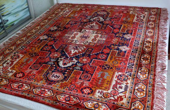 Vintage Rug aztec kilim viscose sofa spread by MadeInTheUSSR