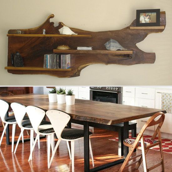 amazing live edge floating shelf and live edge dining table #onetawoodworks #reclaimedwood #diningroom