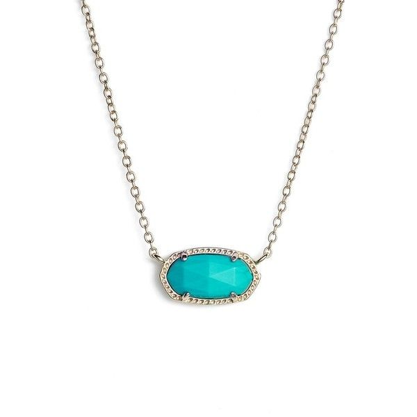 Kendra Scott 'Elisa' Pendant Necklace ($60) ❤ liked on Polyvore featuring jewelry, necklaces, teal, kendra scott, kendra scott necklace, sparkle jewelry, teal necklace and sparkly necklace