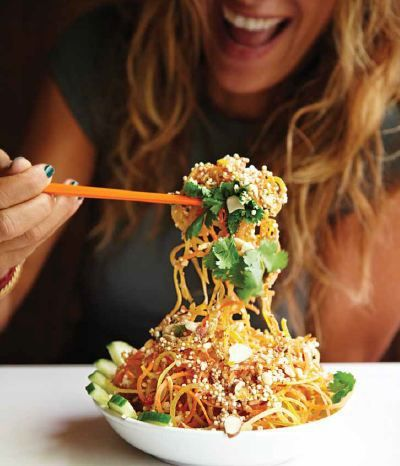 """THE famous Tangled Thai Salad from Toronto's """"Fresh"""" restaurant.    Per serving: Cal-160 Fat- 3.9 Carb- 28.3 Fibre- 9.1 Protein- 6.7 Sugars- 16.1"""