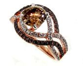 Unique Halo Infinity 1 Carat Chocolate Brown Diamond Engagement Ring with Rose Gold, White & Brown Diamond Accent Stones, Anniversary Ring