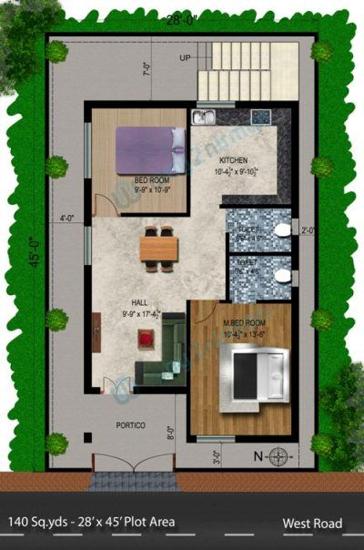 140 sq.yard 28' X 45' sq.ft West face Double bedroom House Plan. For more House plans, Elevations, Floor Plans & Plan Drawings, visit way2nirman.com