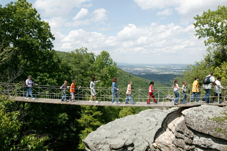 Pack your walking shoes if you want to See Rock City! A 4100-foot trail meanders among natural sandstone formations and passes a 90-foot waterfall. Not for the faint of heart, the 180-foot suspension bridge lets visitors get a bird's eye view of Chattanooga Valley.