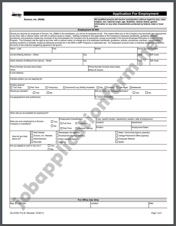 Sunoco Application Form Pdf Printable Job Applications Job Application Form How To Apply