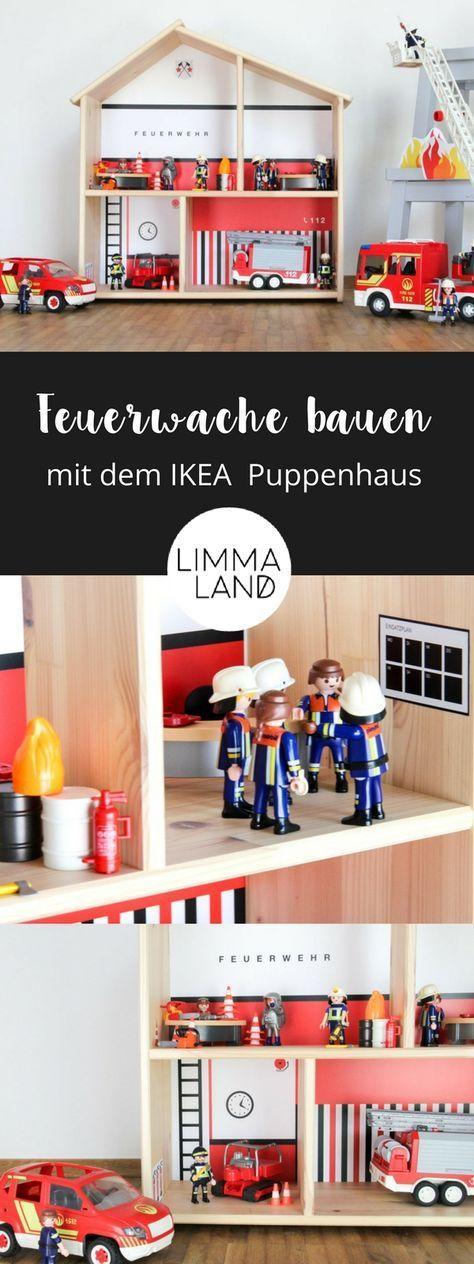 Feuerwehr für Kinder bauen: Nutze dafür das IKEA Flisat Puppenhaus + das passende Folienset von Limmaland mit vielen schönen Accessoires. So kannst du ganz schnell und einfach eine Feuerwehr für Kinder gestalten. Mehr Infos zu dieser Feuerwehr Folie für Kinder in unserem Shop.