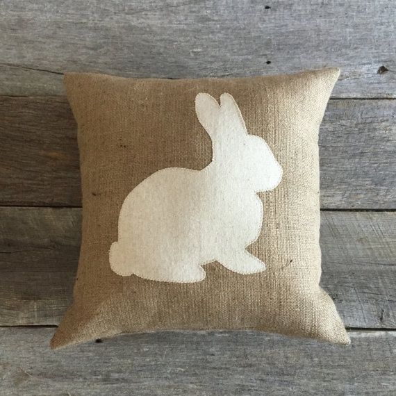 Burlap Rabbit Pillow,Spring Pillow, Cotton Muslin Pillow, Easter Pillow, Front Porch Pillow, Front Porch,Bunny Pillow,Burlap Pillow