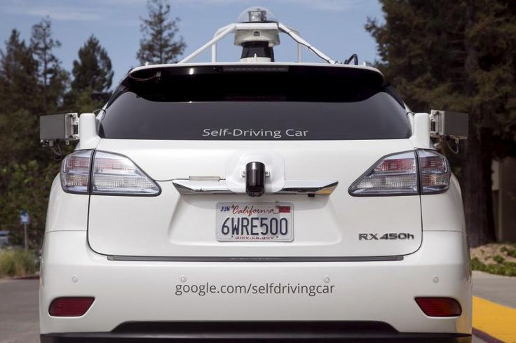 The rear of a Lexus SUV equipped with Google self-driving sensors is seen during a media preview of Google's prototype autonomous vehicles in Mountain View, California September 29, 2015.  REUTERS/Elijah Nouvelage