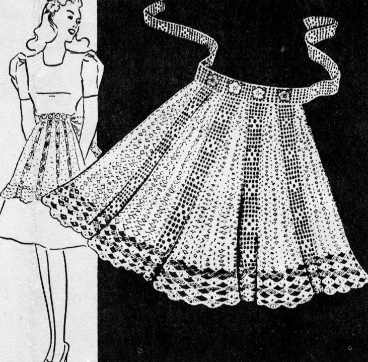 Image result for vintage crochet apron 1950