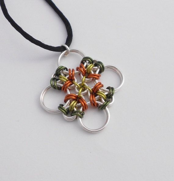 Green and Orange Chainmaille Necklace, Japanese Cross Pendant, Chainmail