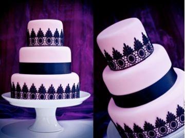 Wedding Cake Black and Pink