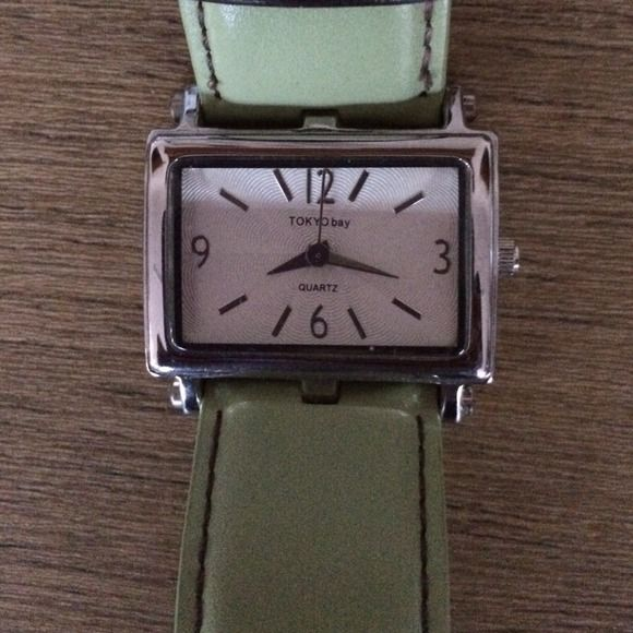 Tokyo Bay watch with leather strap Lime green leather band.  No scratches.  Excellent condition.  Bought from Title Nine. tokyo bay Jewelry