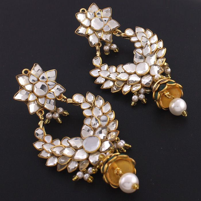 Gold Plated Faux Pearl Beads Emerald Pachi Kundan Dangle Earrings-Pachi Kundan Earrings - IndiaTrend - Jewellery, Apparels & Accessories - FREE delivery worldwide