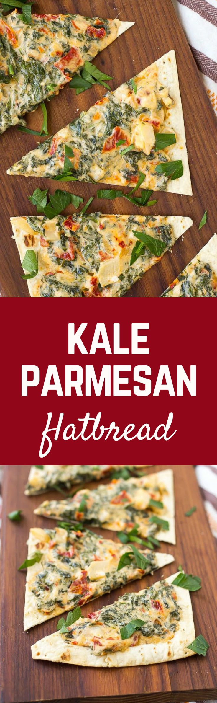Kale Flatbread with Parmesan and Sundried Tomatoes is a quick and easy lunch or a fun appetizer for any gathering. It's packed with flavor and nutrition! Get the recipe on RachelCooks.com!