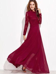 Contrast Lace Crochet Keyhole Back Maxi Dress