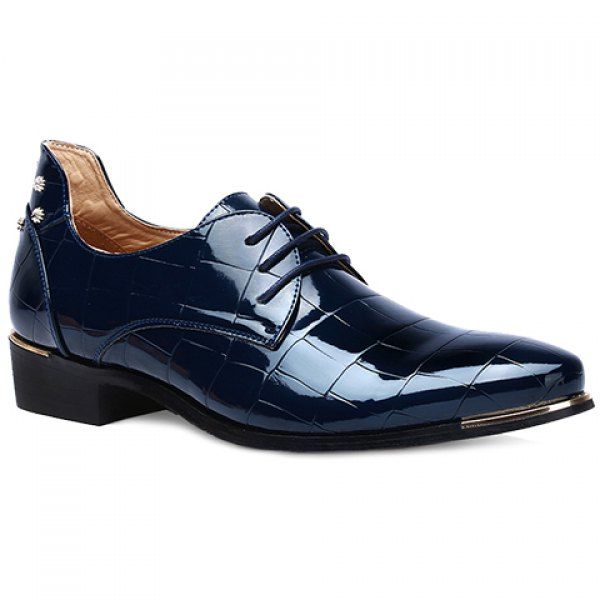 Trendy Metal and Patent Leather Design Men's Formal Shoes #men #shoes #fashion #style