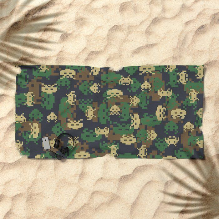 Invaded Camo WOODLAND Beach Towel gamer, gamers, gaming, game, pattern, camo, camouflage, army, military, alien, arcade, defender, 8bit, space, invade…