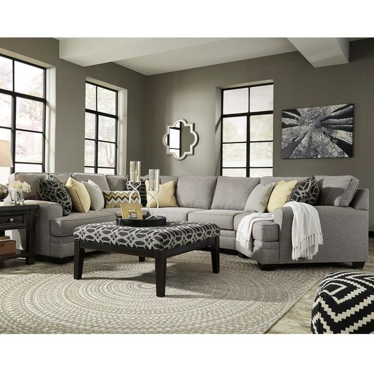 Ashley Cresson Gray Sectional with Cuddler | Weekends Only Furniture and Mattress