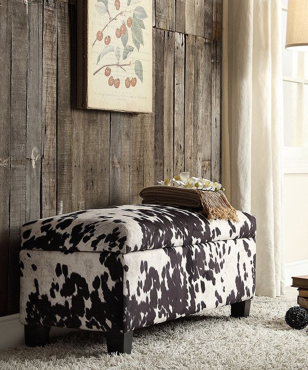 Look at this HomeBelle Black Cowhide Fabric Storage Ottoman on #zulily today!