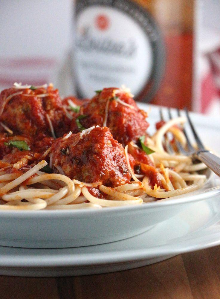 Turkey Meatballs in Spicy Tomato Basil Sauce with Spelt Spaghetti ...