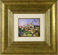 """Lote 5035 - MOTA URGEIRO (n.1946) - Original - Pintura a óleo sobre madeira, assinada, título """"Palácio da Vila - Sintra"""", com 15x18 cm (moldura dourada com 45x47 cm). Óleo deste autor foi vendido por €3.400 numa leiloeira em Lisboa. Nota: Mota Urgeiro é considerado o expoente máximo do impressionismo em Portugal, como reconhecimento pela qualidade artística das suas obras de arte, foi premiado com medalha de Ouro da Sociedade Nacional de Belas Artes em 1973 - Current price: €190"""