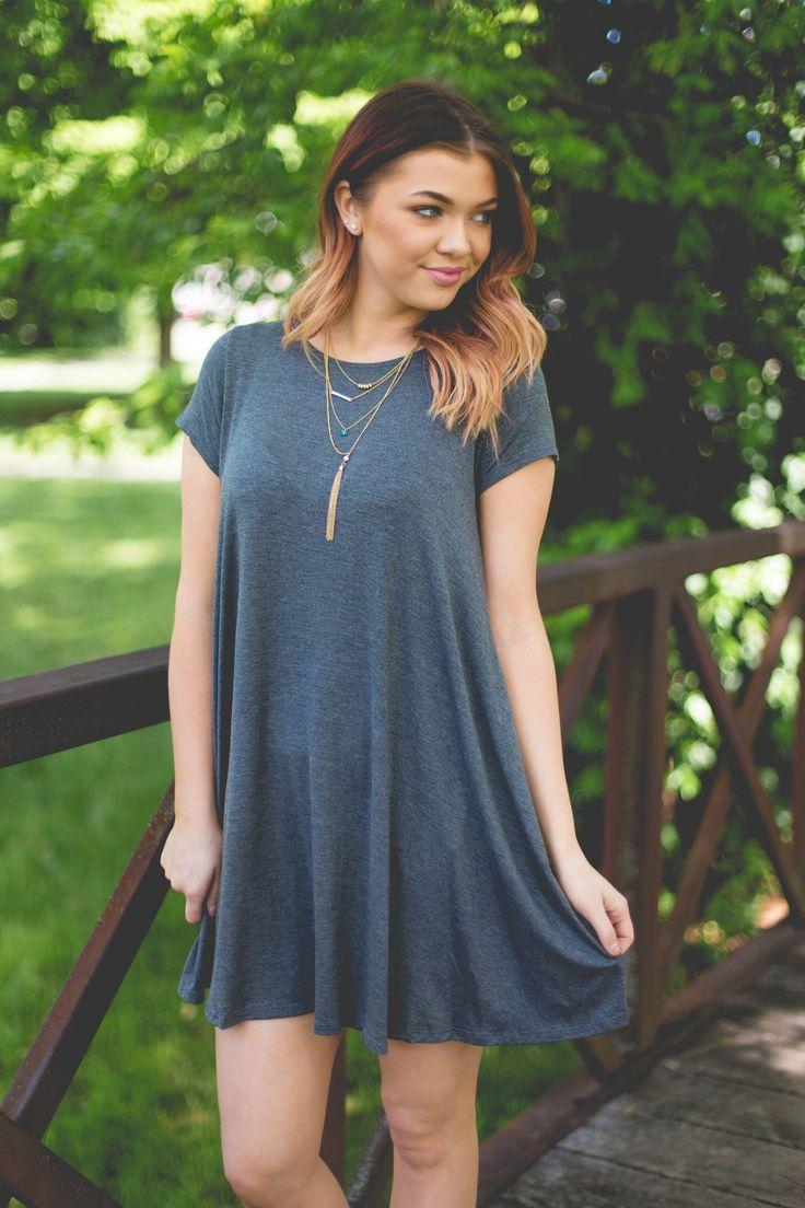 Cute N' Casual- Charcoal Dress
