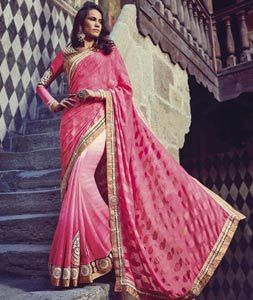 Buy Pink Jacquard Party Wear Saree 76245 with blouse online at lowest price from vast collection of sarees at Indianclothstore.com.