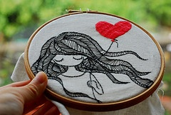 Girl with Heart Balloon Embroidered Hoop