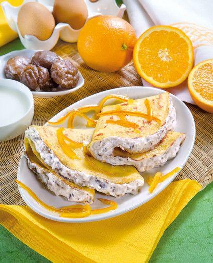 Ricetta gustosa delle crêpes con marron glacé.