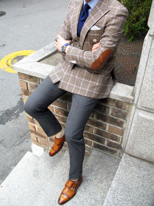 That monkstrapFashion Outfit, Fall Style, Fashion Style, Elbow Patches, Men Style, Men Fashion, Men Suits, Style Men, Pocket Squares
