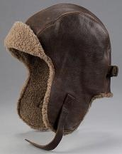 vintage leather aviator hat