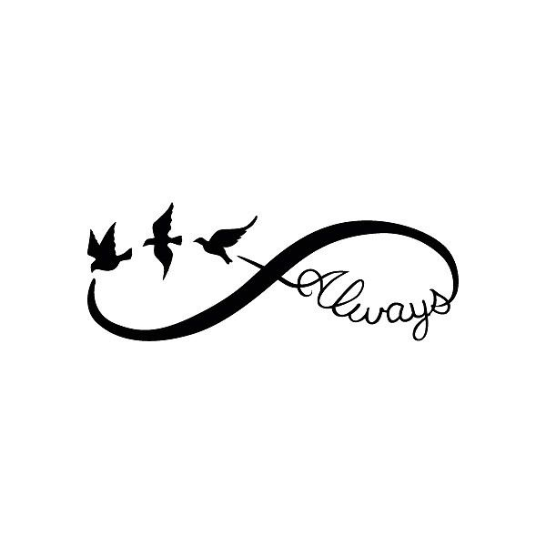 A popular girl tattoo design of an infinity symbol with birds and word 'always.'