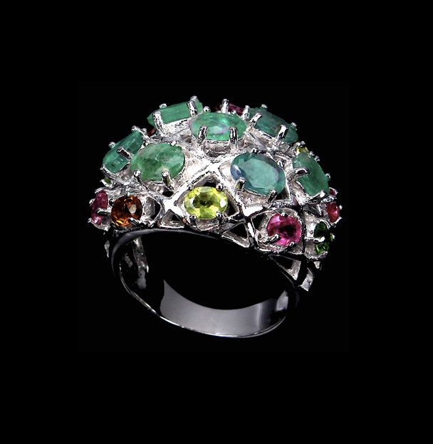 Natural EMERALD and Fancy TOURMALINE Gemstones from Brazil, 14k White Gold and 925 Sterling Silver Colorful and Majestic Ring Jewellery! by AmeogemPreciousJewel on Etsy