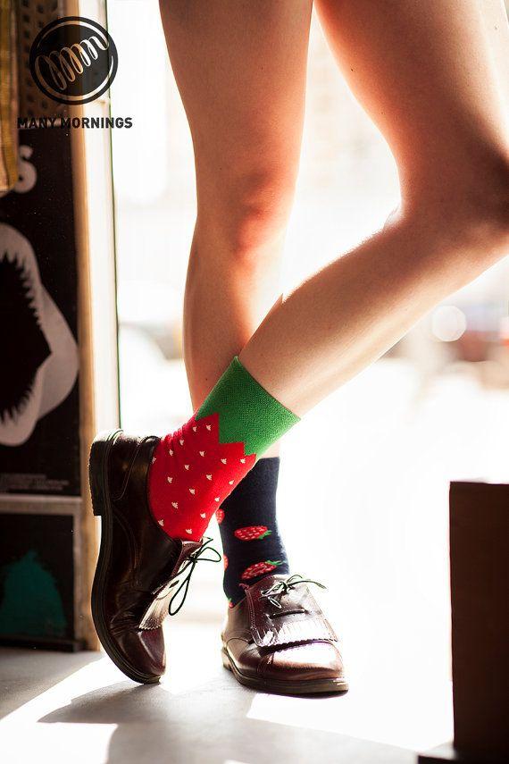 Strawberries Socks   mismatched socks   mens socks   casual socks   cool socks…