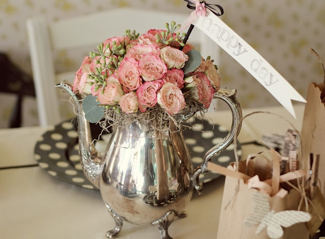 Old Silver Tea Pot, Flower Arangment
