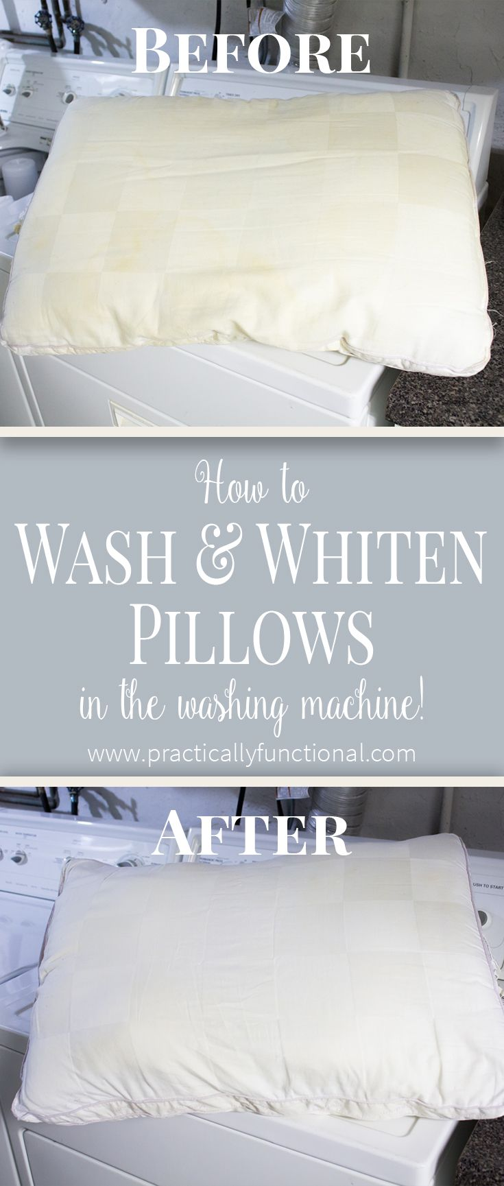 Learn how to wash pillows in your washing machine! Get rid of yellow stains, odors, dust, and dander for a better night's sleep!
