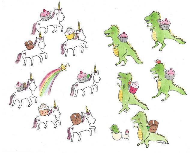 Cupcake faceoff featuring Unicorns and T-rexesT Rex, Cupcakes Riding, Riding Unicorns, Art Products, Trex, 8X10 Battle, Unicorns Parties, Battle Royal, Cupcakes Rosa-Choqu