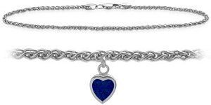 10K White Gold 9 Inch Wheat Anklet with Created Sapphire Heart Charm Elite Jewels. $179.50. Save 44%!