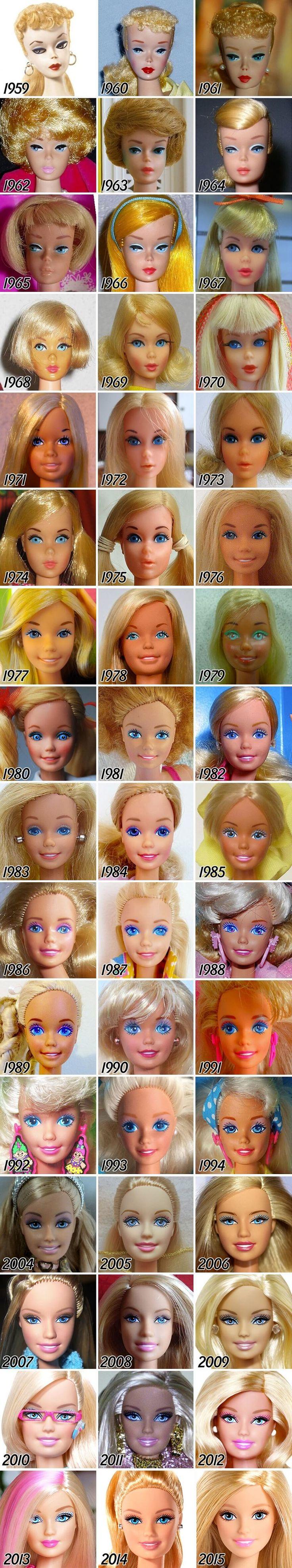 Na haar eerste introductie in 1959 is de iconische Barbiepop vele malen veranderd volgens de schoonheidsidealen en normen, die de maatschappij in de afgelopen decennia voor vrouwen heeft bepaald.