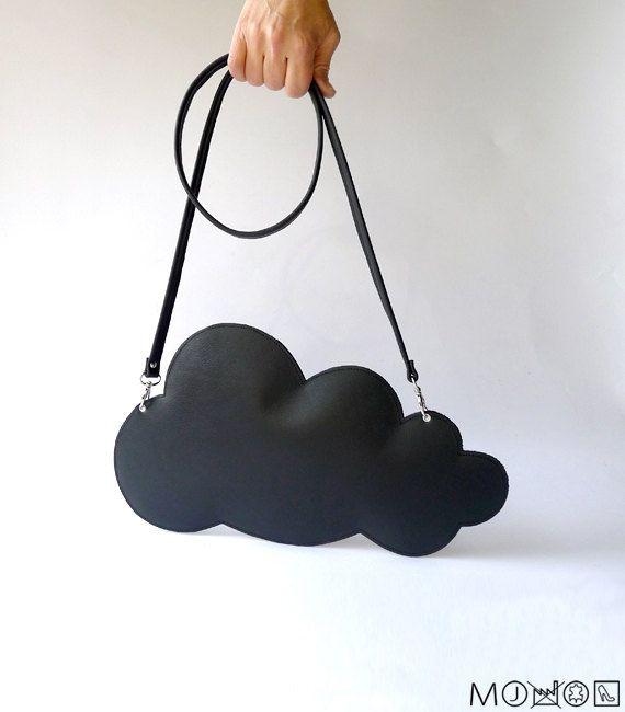Cloud clutch  black leather by MariekeJacobs.