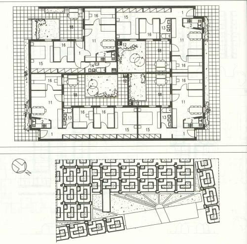 "libera unità orizzontale tuscolano plan| "" The courtyard houses are each ""L-shaped"" with all the main rooms facing the internal patios and arranged in groups of four following an ingenious scheme: three houses face the same interior open space and the fourth one is opened towards the exterior, in this way the resulting internal open spaces, the patios, are also L-shaped.""[...]"