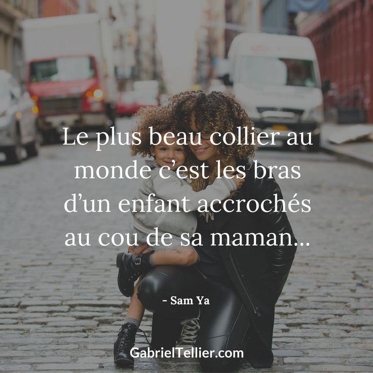Le plus beau collier au monde c'est les bras d'un enfant accrochés au cou de sa maman... #citation #citationdujour #proverbe #quote #frenchquote #pensées #phrases #french #français