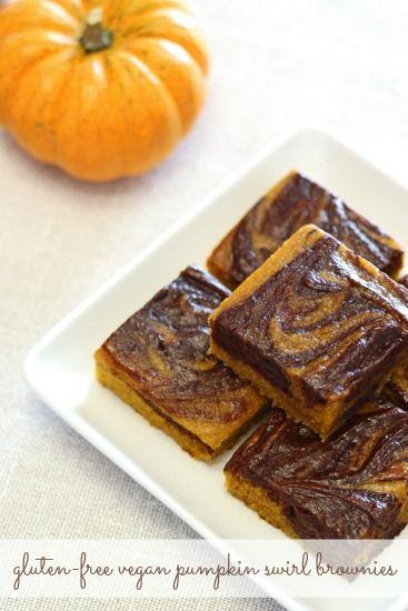 Gluten Free Vegan Pumpkin Swirl Brownies via Sarah Bakes GF Treats | www.balancedplatter.com