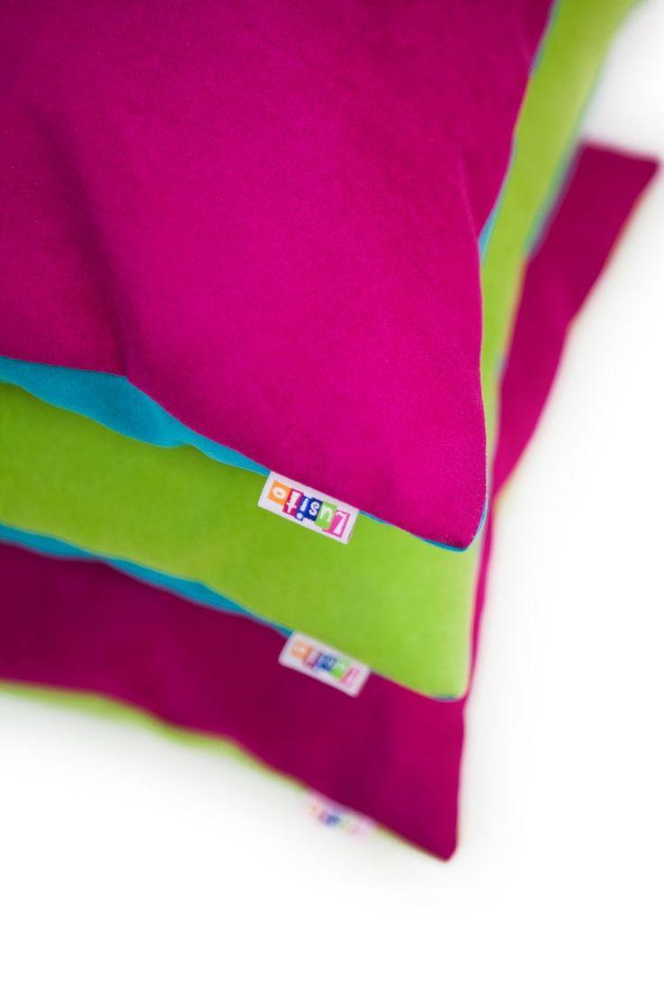 Polštářky a povlečení : Dekorační polštářek 40x40cm magenta/tyrkys