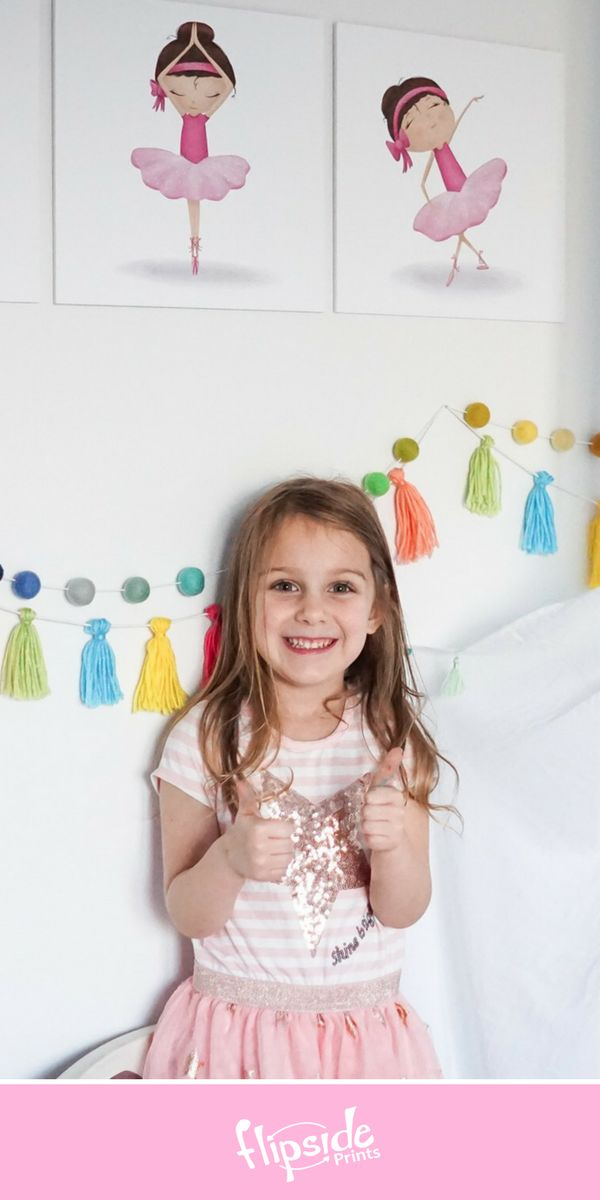 Flipside Prints | Adorable ballerina wall art for girls bedroom or nursery