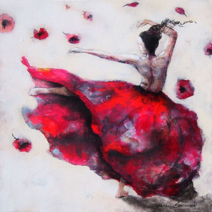 ARTFINDER: Just dance by Malin Östlund - Small painting with a lot of flow, inspired by the beautiful photos from the New york dance project.