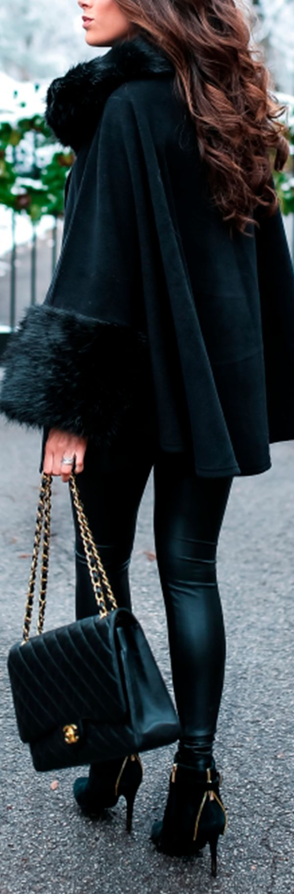 Fashion For Women. Winter outfit. Winter fashion style. H&M turtleneck, Parkhust Black Cape, Lysse Leggings, Jessica Simpsons Booties, J.Crew Earrings, Hypnotic lipstick, Chanel Handbag. Emily Ann Gemma, The Sweetest Thing Blog. #EmilyAnnGemma #TheSweetes